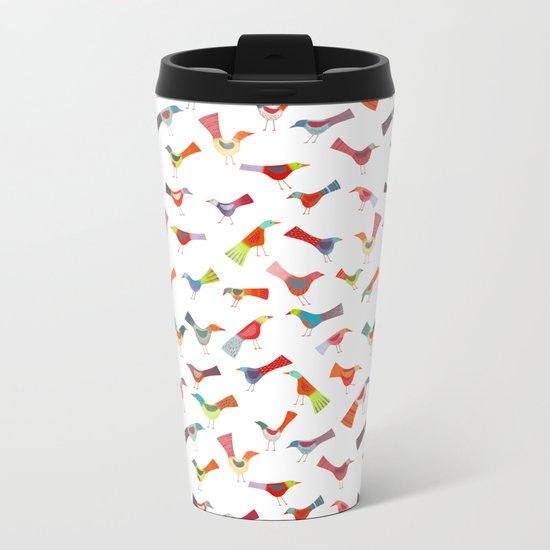 Birds doing bird things Metal Travel Mug