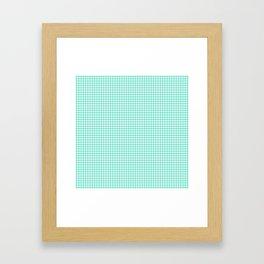 Aqua Blue And White Hounds-tooth Check Framed Art Print