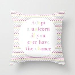 Adopt a Unicorn Throw Pillow
