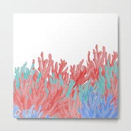 Modern nautical coral blue teal floral reef Metal Print