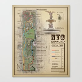 Central Park [Bethesda Fountain] Vintage Inspired running route map Canvas Print