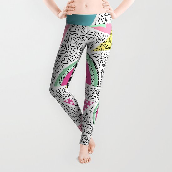 Modern geometric pattern Memphis patterns inspired Leggings