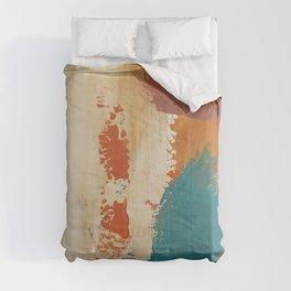 Rustic Orange Teal Abstract Comforters