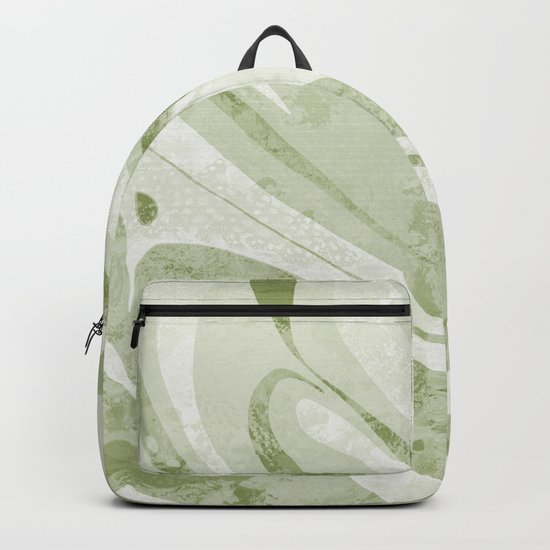 Abstract Green Waves Design Backpack
