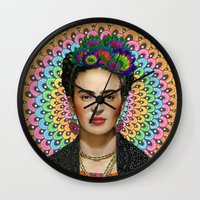 frida kahlo Wall Clocks featuring Frida Kahlo by Luna Portnoi