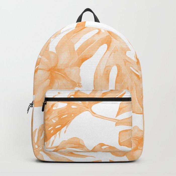 Island Vacation Hibiscus Palm Leaf Coral Orange Backpack