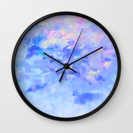 Blue Leaves under a Lavender Sky Wall Clock