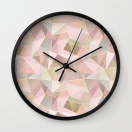 Broken glass in light pink tones. Wall Clock