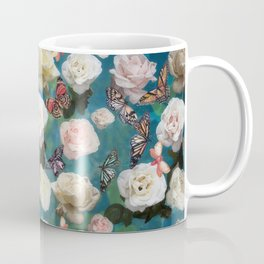 White Roses and Butterflies Coffee Mug