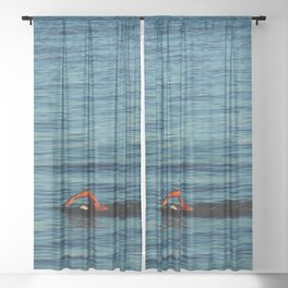 Swimmer Swimming Sea Sport Sheer Curtain