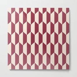 Classic Trapezoid Pattern 242 Burgundy and Beige Metal Print