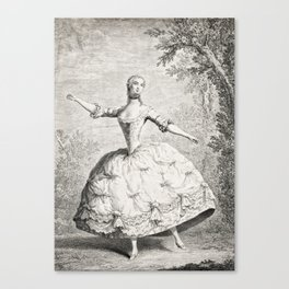 The Dancers, 18th century French ballet woman, black white drawing Canvas Print