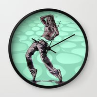 hiphop Wall Clocks featuring B GIRL - vanguard style by ARTito
