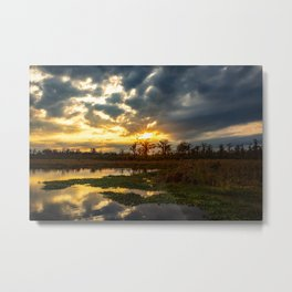 Down on the Bayou - Sunset Over Cypress Trees in Louisiana Swamp Metal Print