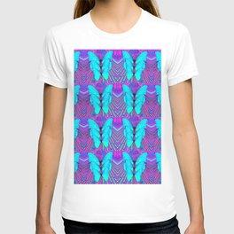 MODERN ART NEON BLUE BUTTERFLIES SURREAL PATTERNS T-shirt