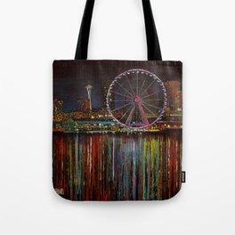 Seattle Wheel at Night Tote Bag