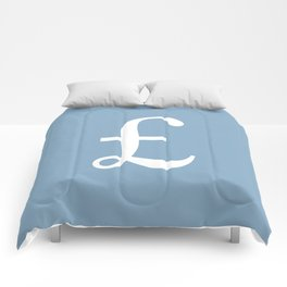Pound currency sign on placid blue background Comforters