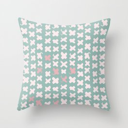 Contemporary X Paint Cross stich Mint Pink Pattern Throw Pillow