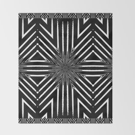 Tribal Black and White African-Inspired Pattern Throw Blanket