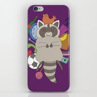 racoon iPhone & iPod Skins featuring Happy Racoon by Noelia Muñoz