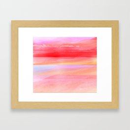 Seascape in Red, Yellow and Pink Framed Art Print