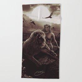 VIII. Strength Tarot Card Illustration (Warmth) Beach Towel
