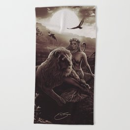 VIII. Strength Tarot Card Illustration (Warmth) Beach Towel