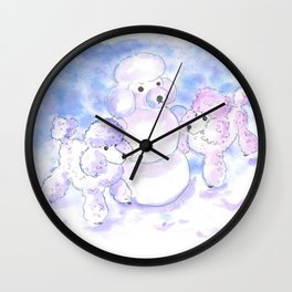 Poodles in Snow Wall Clock