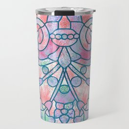 Art Nouveau Blue and Peach Batik Texture Travel Mug