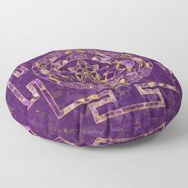 Sri Yantra  / Sri Chakra Amethyst and gold Floor Pillow