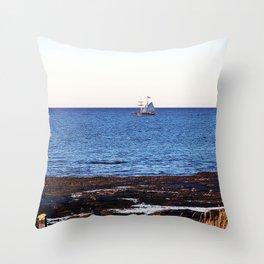 Tallship on the Saint-Lawrence Throw Pillow