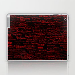 Merry Christmas, red on black Laptop & iPad Skin