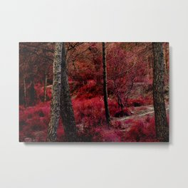Red forest landscape electric alien Metal Print