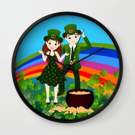 Kids and Saint Patrick Day Wall Clock