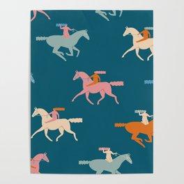 Naked derby dark blue Poster