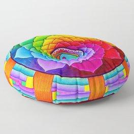 Healing Lotus Rainbow Yin Yang Mandala Floor Pillow