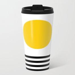 Midcentury Yellow Minimalist Sunset With Black Stripes Metal Travel Mug