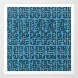 mod blue waves Art Print