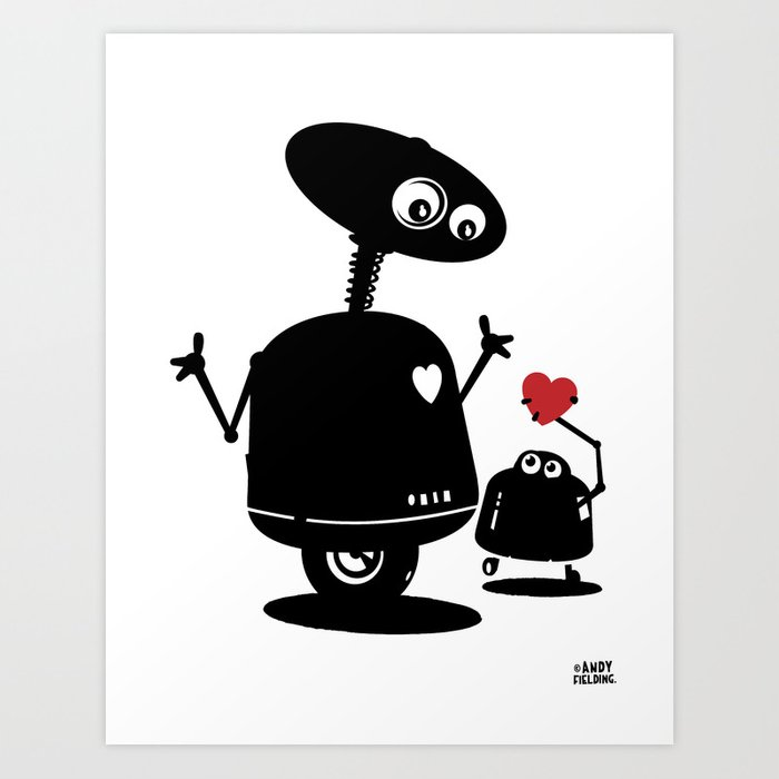 Robot Heart to Heart Art Print
