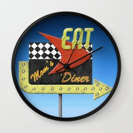 """Mom's Diner"" Retro '50s Diner Sign Wall Clock"