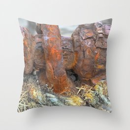 Sea, Rust and rope, Highlands of Scotland Throw Pillow