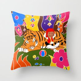 Tigre et enfant Throw Pillow