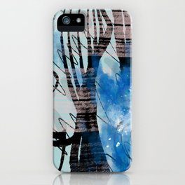 Blue Watercolor Drawing with Black Pattern: Scribble Series 04 iPhone Case