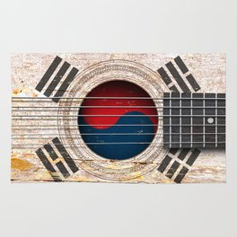 Old Vintage Acoustic Guitar with South Korean Flag Rug