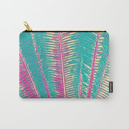 Girly Blue and Pink Tropical Palm Fronds Carry-All Pouch