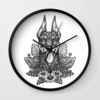 doberman Wall Clocks featuring Doberman & Daisies by Britt Sorensen