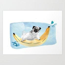 Pug on a Banana Boat Art Print