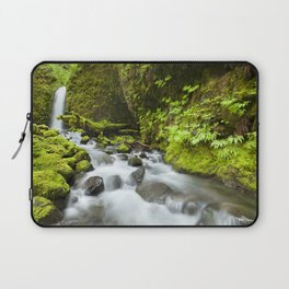 I - Remote waterfall in lush rainforest, Columbia River Gorge, Oregon, USA Laptop Sleeve