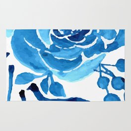TROPICAL BLUE FLORAL Rug