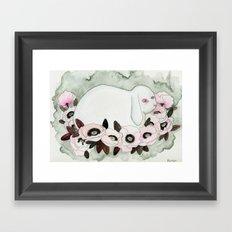 White Rabbit, Pink Poppies Framed Art Print